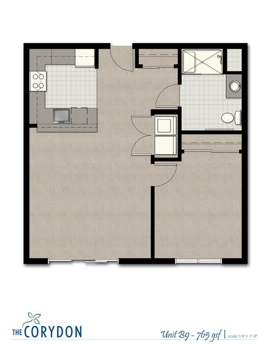 Floor Plan  One Bedroom B9 FloorPlan at The Corydon, Seattle