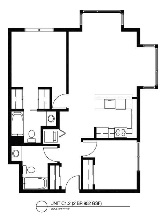 Floor Plan  Two Bedroom C1 2 FloorPlan at The Corydon, Seattle, WA, 98105