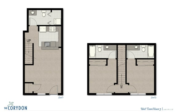 Floor Plan  Townhome TH3 FloorPlan at The Corydon, Seattle, WA