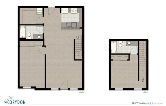 Floor Plan  Townhome TH4 FloorPlan at The Corydon, Seattle, Washington