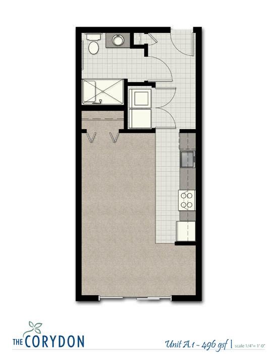 Floor Plan  Studio A1 FloorPlan at The Corydon, Seattle, 98105
