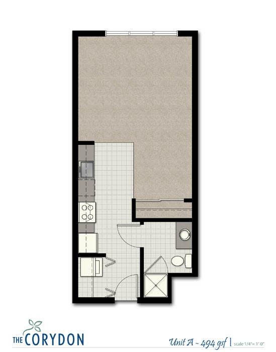 Floor Plan  Studio A FloorPlan at The Corydon, Seattle, WA, 98105