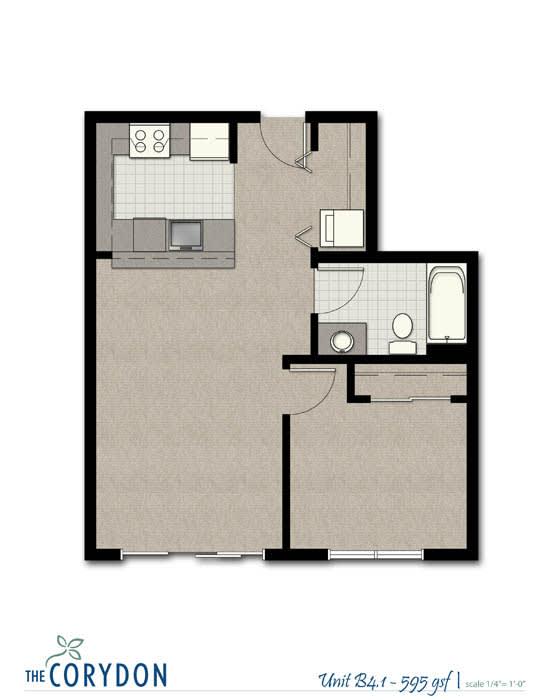 Floor Plan  One Bedroom B4 1 FloorPlan at The Corydon, Seattle, 98105