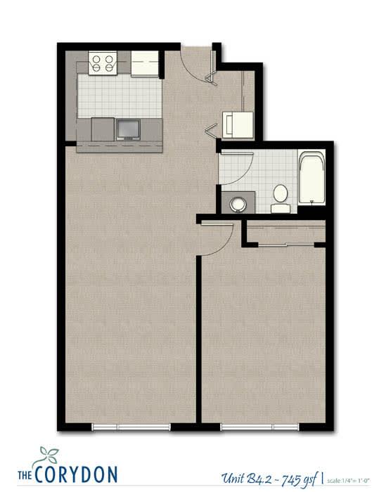 Floor Plan  One Bedroom B4 2 FloorPlan at The Corydon, Seattle