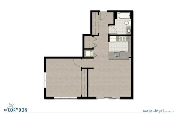 Floor Plan  One Bedroom B7 FloorPlan at The Corydon, Washington
