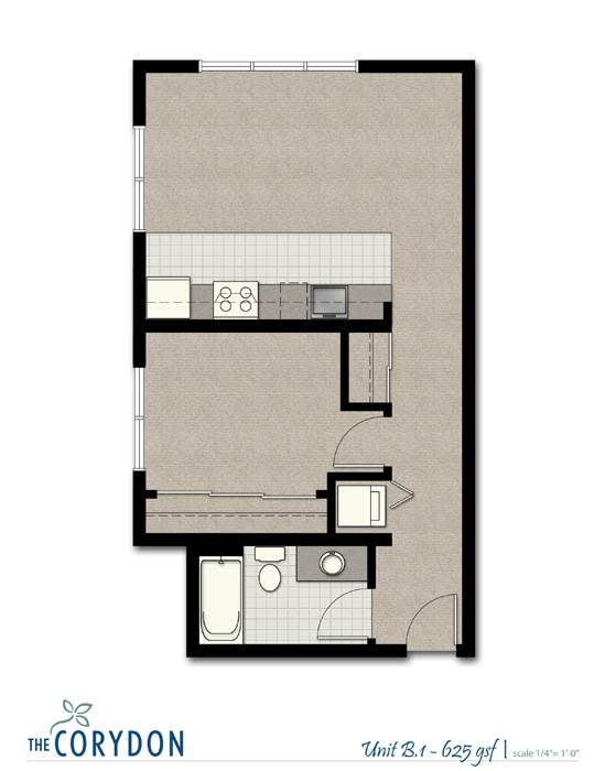 Floor Plan  One Bedroom B1 FloorPlan at The Corydon, Seattle