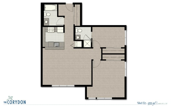 Floor Plan  Two Bedroom C2 FloorPlan at The Corydon, Seattle