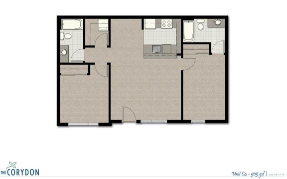 Floor Plan  Two Bedroom C4 FloorPlan at The Corydon, Seattle, WA