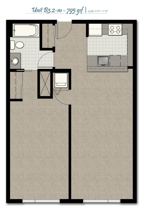 Floor Plan  One Bedroom B3 2 M FloorPlan at The Corydon, Seattle, WA