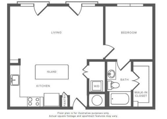 Floor Plan  1 Bed 1 Bath A10 Floor Plan at Windsor by the Galleria, Dallas