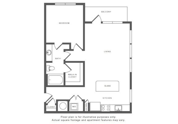 Floor Plan  1 Bed 1 Bath A11 Floor Plan at Windsor by the Galleria, Texas