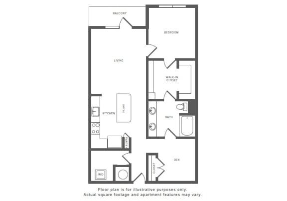 Floor Plan  1 Bed 1 Bath A13S Floor Plan at Windsor by the Galleria, Dallas, TX, 75240