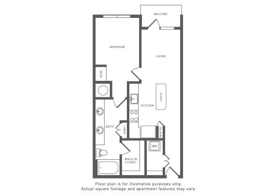Floor Plan  1 Bed 1 Bath A5 Floor Plan at Windsor by the Galleria, Texas