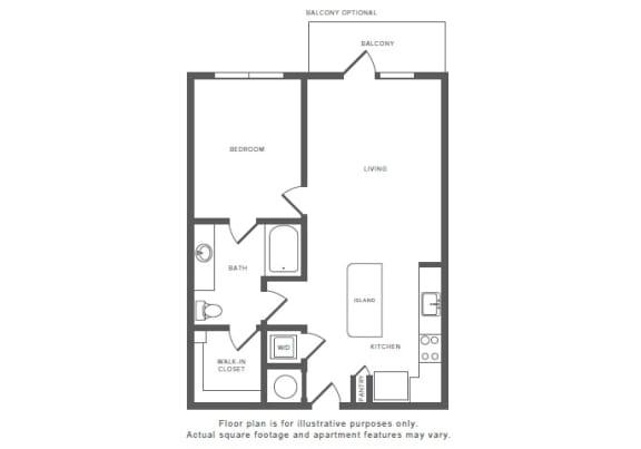 Floor Plan  1 Bed 1 Bath A7 Floor Plan at Windsor by the Galleria, Dallas, TX, 75240