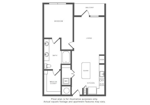 Floor Plan  1 Bed 1 Bath A9 Floor Plan at Windsor by the Galleria, Dallas