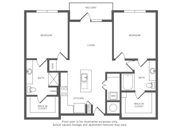 Floor Plan  2 Bed 2 Bath B3 Floor Plan at Windsor by the Galleria, Dallas, Texas