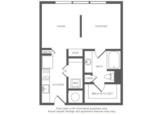 Floor Plan  0 Bed 1 Bath S1 Studio Floor Plan at Windsor by the Galleria, Texas, 75240