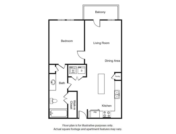 Floor Plan  One Bed One Bath A1 Floor Plan  at Windsor West Lemmon, Dallas, Texas