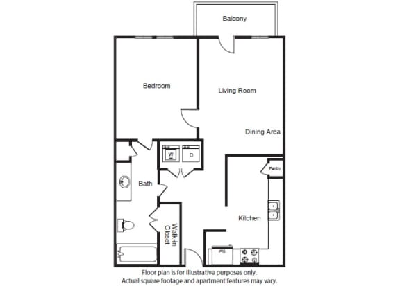 Floor Plan  One Bed One Bath A1a Floor Plan at Windsor West Lemmon, Texas, 75209