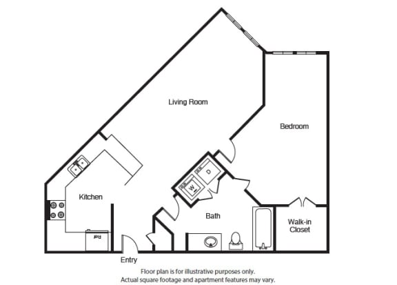 Floor Plan  One Bed One bath A3 Floor Plan at Windsor West Lemmon, Dallas, 75209