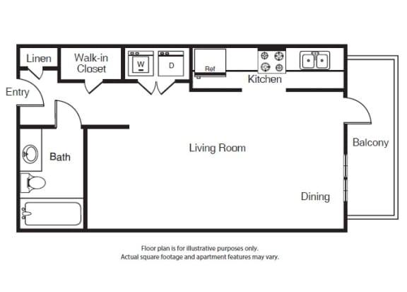 Floor Plan  0 Bed 1 Bath Studi S1 Floor Plan at Windsor West Lemmon, Dallas, TX, 75209
