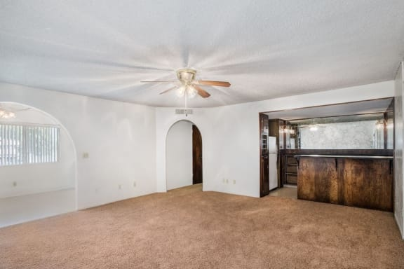 Ceiling Fan in Open Living Room at Barcelona Apartments, Visalia, CA, 93277
