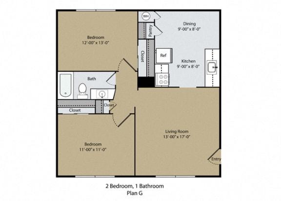 2 Bedroom 1 Bathroom Floor Plan at Barcelona Apartments, California