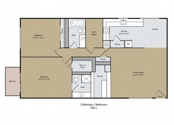 2 Bed 2 Bath Floor Plan at Barcelona Apartments, Visalia, California