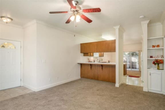 Ceiling fans in apartments at Dartmouth Tower at Shaw, Clovis, CA, 93612