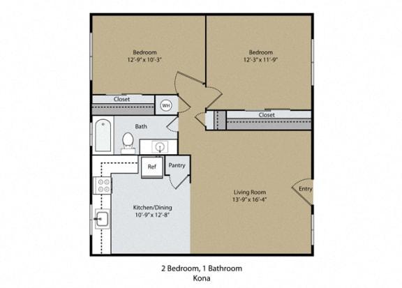 Kona Floor Plan at Reef Apartments, California, 93704