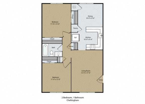 Cheltingham Floor Plan at Scottsmen Apartments, California