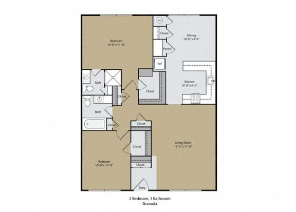 Granada Floor Plan at Scottsmen Apartments, Clovis