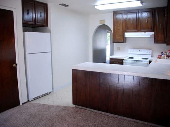 Refrigerator And Kitchen Appliances at Scottsmen Apartments, Clovis, CA