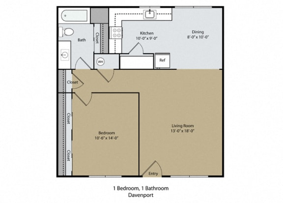 Davenport Floor Plan at Scottsmen Too Apartments, Clovis, California