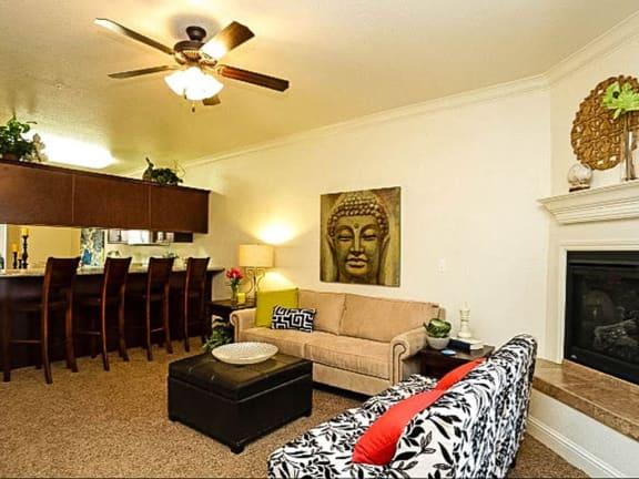 Ceiling Fan In Living Room at Villa Faria Apartments, California
