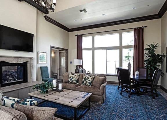 Lounge Area With Fireplace at Villa Faria Apartments, Fresno, California