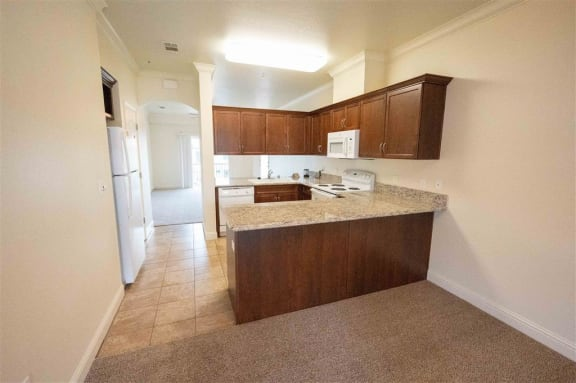 Fully Furnished Kitchen at Dominion Courtyard Villas, Fresno, California