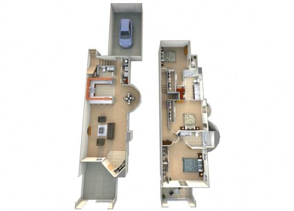 3 Bed 2.5 Bath Santa Teresa Floorplan at Dominion Courtyard Villas, California, 93720