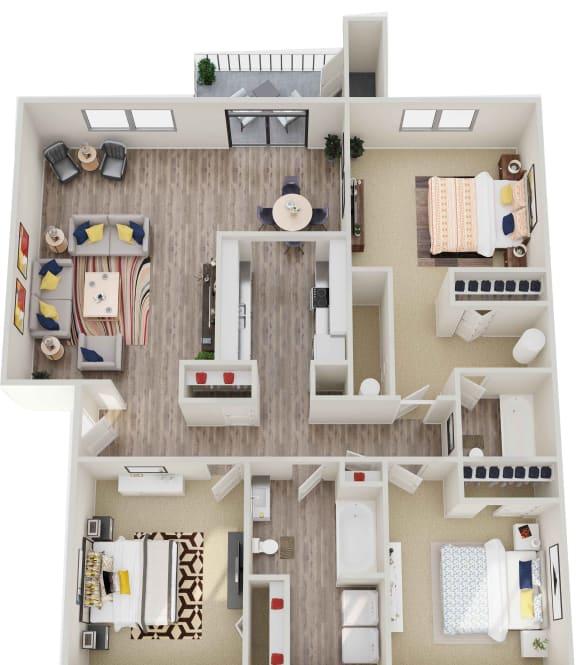 GoGo West Apartments 3 Bed 2 Bath 3D Floor Plan