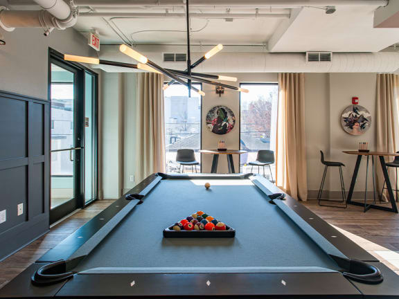Game Room with Billiards Table at St. Marys Square Apartments, Raleigh, 27605
