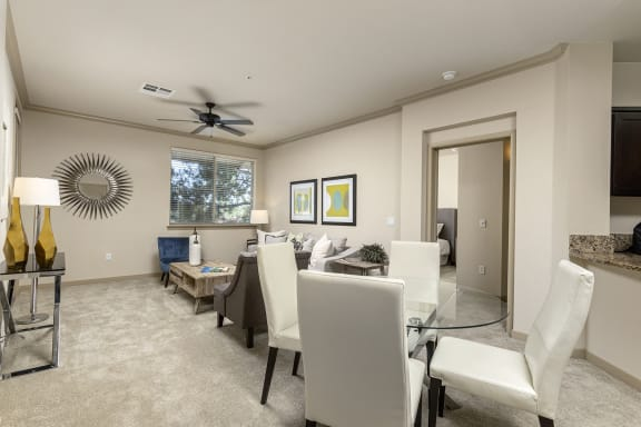 Warm Living And Dining Room at 55+ FountainGlen  Jacaranda, Fullerton, CA, 92833