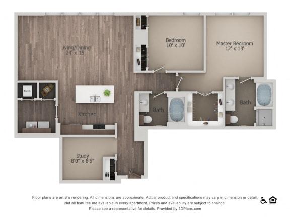 2Bed 2Bath 2C Floorplan at Northshore Austin, Austin, 78701