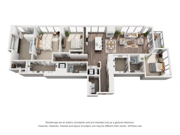 3 Bed 3 Bath 3B Floor Plan at Northshore Austin, Austin, TX, 78701