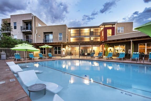 ABQ Uptown Apartments - Resort-style swimming pool with sun ledge