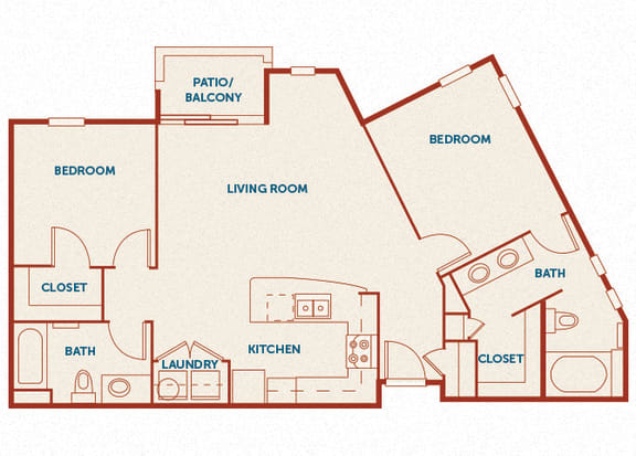 ABQ Uptown Apartments - B7 - 2 bedroom and 2 bath