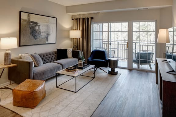 Classic Living Room Design With Television at The MilTon Luxury Apartments, Vernon Hills, Illinois