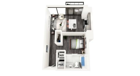 AZA2 1 BEDROOM/1 BATH Floor Plan at Azure on The Park, Atlanta, GA, 30309