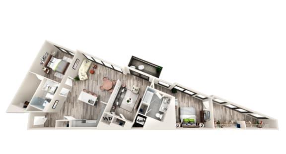 AZC10 2 BEDROOM/2 BATH LARGE Floor Plan at Azure on The Park, Atlanta