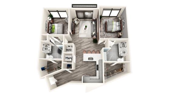 AZC5 2 BEDROOM/2 BATH Floor Plan at Azure on The Park, Atlanta, GA, 30309
