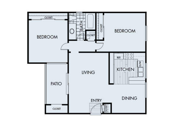 Floor Plan  2 Bed 1 Bath 2A Floor Plan at Corte Bella, Fountain Valley